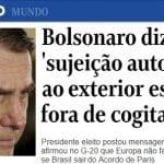 Bolsonaro: continência para Trump, cotovelaço em Macron