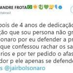 Frota: Bolsonaro gosta mais do Queiroz do que de mim