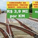 Governo concedeu Norte-Sul por só 45% do preço que Lula obteve