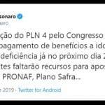 Chantagem: Bolsonaro diz que BPC será suspenso se não aprovarem projeto já