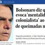 Bolsonaro responde a Macron e o chama de 'colonialista'