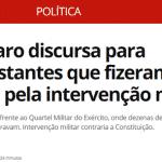 Bolsonaro apela ao golpe